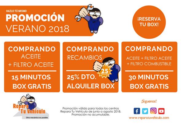 PROMO RTV TRES VERANO 2018 REPARA TU VEHICULO ALQUILER BOXES MECANICA